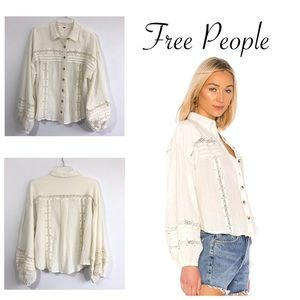 Free People Summer Stars Button Down Top in Ivory
